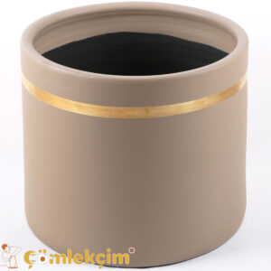 Silindir Boru Saksı Kahve - Altın Varaklı