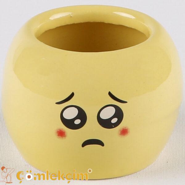 Kaktüs Emoji Saksı Üzgün