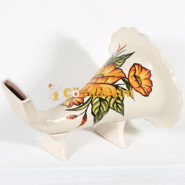 Toprak Gramofon Sırlı Sarı Çiçekler